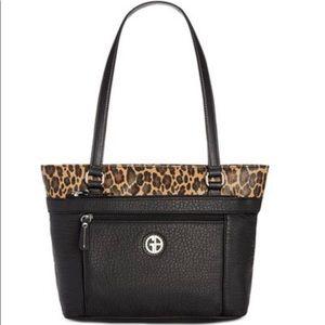 Giani Bernini black leopard tote shoulder bag